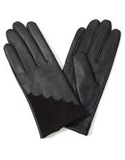 Leather & velvet scallop gloves, Accessorize