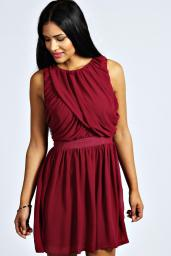 Boohoo €20 - Maureen Ruched Detail Chiffon Skater Dress http://bit.ly/1zL0Bno