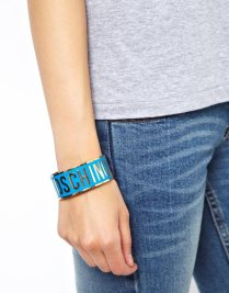 Love Moschino €105.48 - Chunky Blue Logo Bracelet http://tinyurl.com/pg7qog2