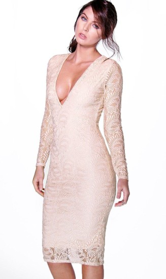 Boohoo Night €41 - Sia Lace Long Sleeve Plunge Bodycon Dress http://bit.ly/1TIF5ix