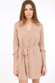 Dresses.ie €26.62 - Soft Nude Shirt Dress http://bit.ly/1M2iqLJ