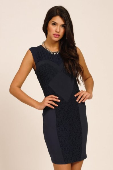 Little Mistress €39.48 - Navy Floral Lace Panel Detail Bodycon Dress http://bit.ly/1vqnos5