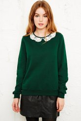 Urban Outfitters €55 - Cooperative Crochet Collar Sweatshirt http://tinyurl.com/o7qlcjv