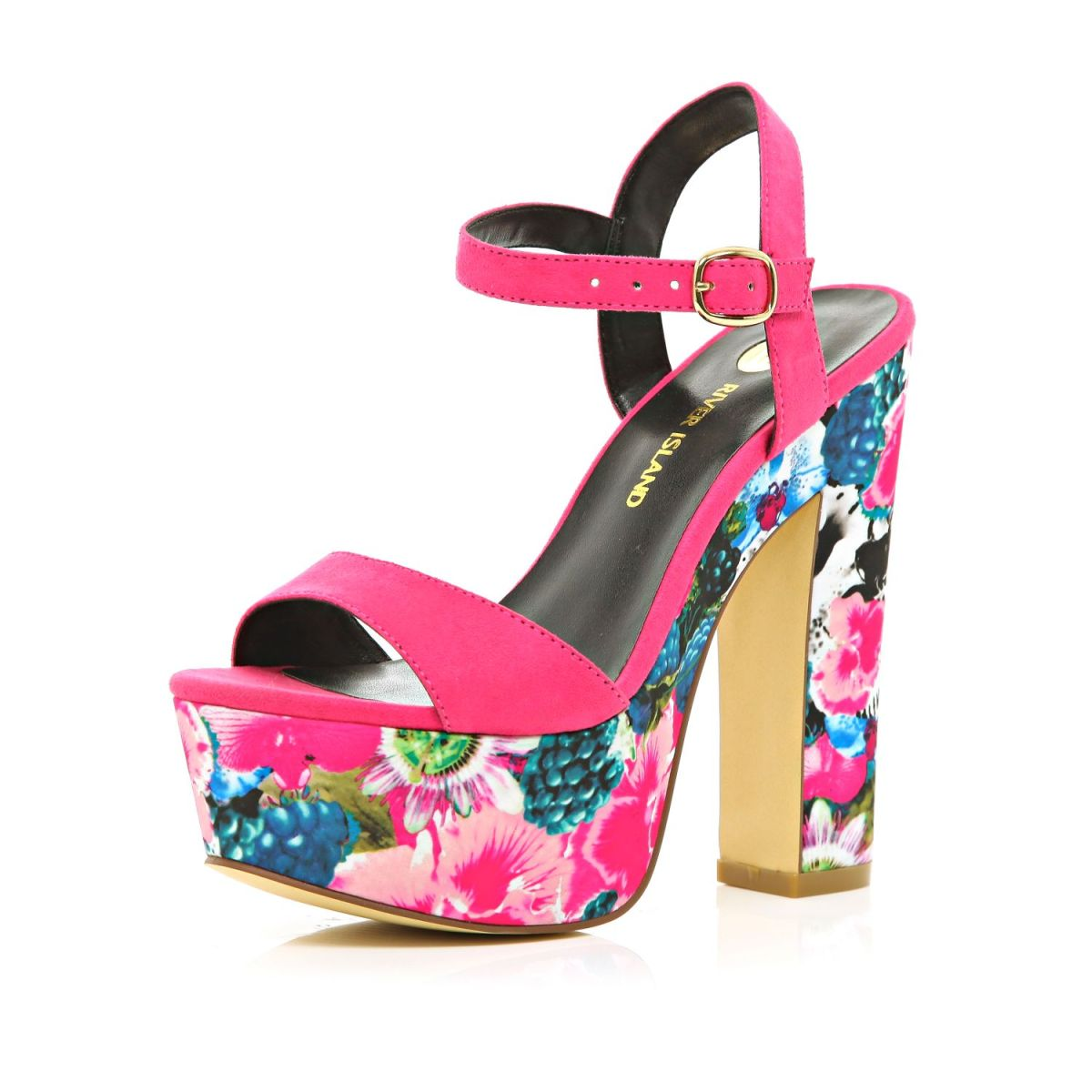 river island 65 pink floral print sandals killer fashion