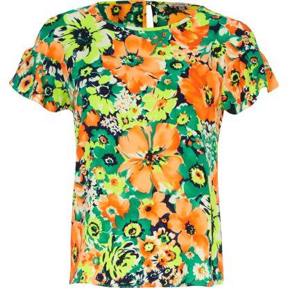 River Island €33 - Floral Print & Frill Sleeve Top http://tinyurl.com/pk5vq6r