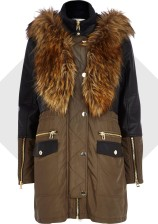 River Island €155 - Khaki Leather-Look Panel Parka Jacket http://bit.ly/1tw29C0