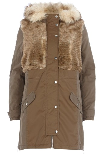 River Island €155 - Faux Fur Panel Parka http://bit.ly/1tDw4K8