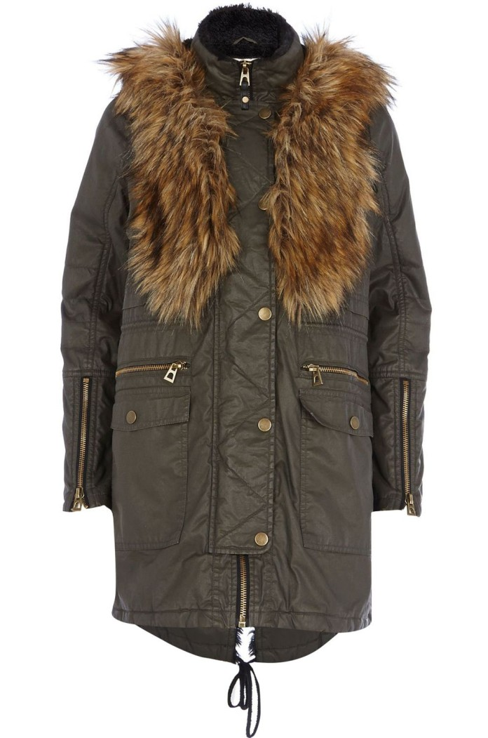 River Island €155 - Khaki Waxed Cotton Faux Fur Trim Parka http://bit.ly/1Efcd7a