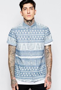 ASOS €35.55 - Denim Shirt In Aztec Print http://bit.ly/1iM0DL0