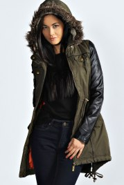 Boohoo €61 - Laila PU Sleeve Hooded Parka http://bit.ly/1phGAH5