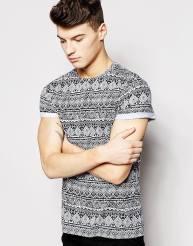 New Look €11.99 - Aztec Print Roll Sleeve T-Shirt http://bit.ly/1MZ1SDU