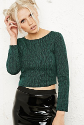 Urban Outfitters €37 - Sparkle & Fade Textured Zip Back Crop Top http://tinyurl.com/m9sw8kl