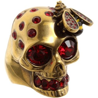 Alexander McQueen €178.50 - Gold Bee And Skull Cocktail Ring http://tinyurl.com/pujk2bh