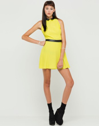€40 - Miley PU Collar Dress in Citrus Yellow http://tinyurl.com/ncod5ql