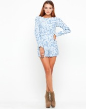 €58 - Molly Long Sleeve Playsuit in Blue Paisley Print http://tinyurl.com/m6ae4me