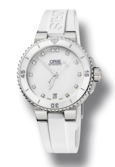 Oris Diving White €1,542/£1,280 - http://www.thewatchgallery.com/shop/oris-diver-aquis-steel-date-watch.html