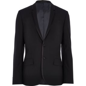Black Contrast Trim Tux Jacket €87 - http://eu.riverisland.com/men/suits/slim-fit/Black-contrast-trim-tux-blazer-276576
