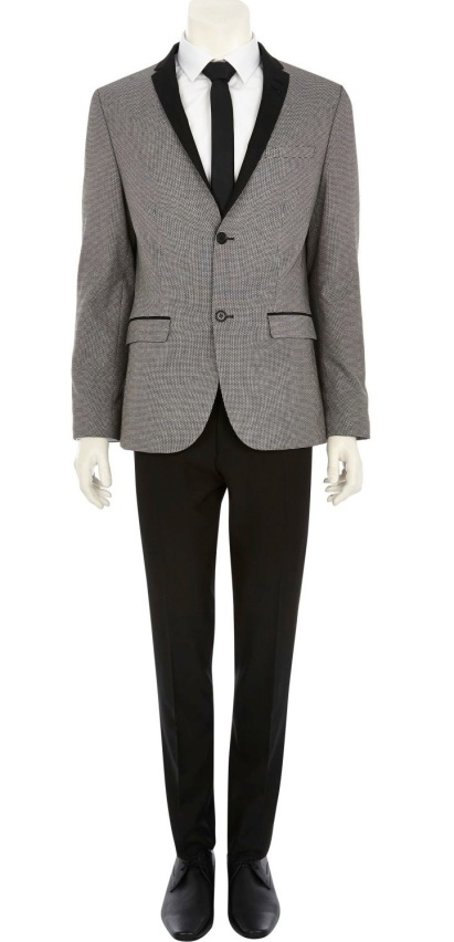Grey Jacquard Contrast Lapel Blazer €113 - http://eu.riverisland.com/men/suits/skinny-fit/Grey-jacquard-contrast-lapel-blazer-278044