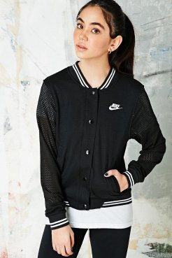 Nike €92 - Varsity Jacket in Black http://www.urbanoutfitters.com/uk/catalog/productdetail.jsp?id=5139408120019&parentid=WOMENS-COATS-JACKETS-EU
