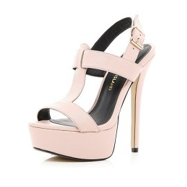 River Island €75 - T bar Platform Sandals http://eu.riverisland.com/women/shoes--boots/heels/Light-pink-T-bar-platform-sandals-646863