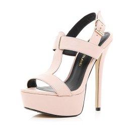 River Island €75 - T bar Platform Sandals http://eu.riverisland.com/women/shoes--boots/heels/Light-pink-T-bar-platform-sandals-646863