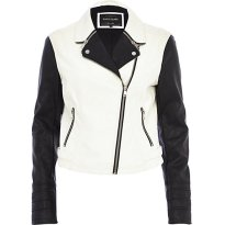River Island €80 - Black White Colour Block Biker Jacket http://eu.riverisland.com/women/coats--jackets/biker-jackets/Black-and-white-colour-block-biker-jacket-647399