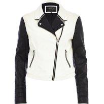 River Island €80 - Black White Colour Block Biker Jacket http://eu.riverisland.com/women/coats--jackets/biker-jackets/Black-and-white-colour-block-biker-jacket-647399