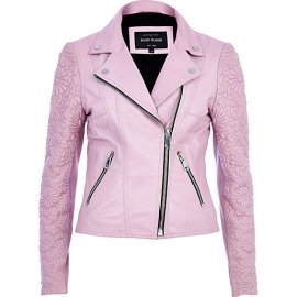 River Island €241 - Pink Embossed Leather Jacket http://eu.riverisland.com/women/coats--jackets/leather-jackets/Pink-embossed-leather-jacket-647420