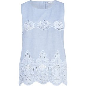 River Island €25 - Blue Chambray Lace Insert Shell Top http://eu.riverisland.com/women/tops/cami--sleeveless-tops/Blue-chambray-lace-insert-shell-top-647684