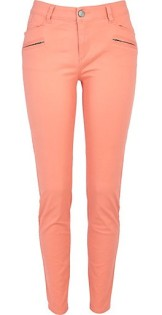 River Island €40 - Light Coral Skinny Biker Trousers http://eu.riverisland.com/women/trousers--leggings/skinny-trousers/Light-coral-skinny-biker-trousers-647959