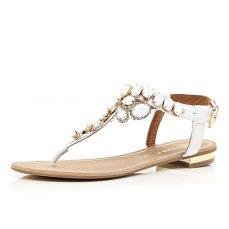 River Island €45 - White Gemstone Embellished T-bar Sandals http://tinyurl.com/qeaebf2