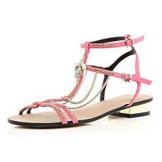 River Island €55 - Pink Block Heel Chain Trim Sandals http://tinyurl.com/pmjdkpx