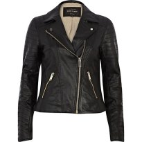 River Island €100 - Black Leather Biker Jacket http://eu.riverisland.com/women/coats--jackets/leather-jackets/Black-leather-biker-jacket-650029