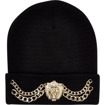 River Island €17 - Black Lion Head Chain Trim Beanie http://eu.riverisland.com/women/accessories/hats/Black-Lion-head-chain-trim-beanie-hat-651503
