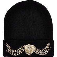 River Island €17 - Black Lion Head Chain Trim Beanie http://eu.riverisland.com/women/accessories/hats/Black-Lion-head-chain-trim-beanie-hat-651503
