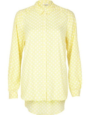 River Island €45 - Light Yellow Polka Dot Shirt http://eu.riverisland.com/women/tops/blouses--shirts/Light-yellow-polka-dot-shirt-654240