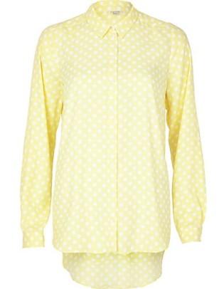 River Island €45 - Light Yellow Polka Dot Shirt http://eu.riverisland.com/women/tops/blouses--shirts/Light-yellow-polka-dot-shirt-654240