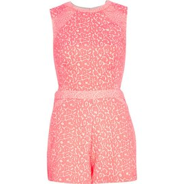 River Island €55 - Pink Animal Jacquard Print Playsuit http://eu.riverisland.com/women/playsuits--jumpsuits/playsuits/Pink-animal-jacquard-print-playsuit-654728
