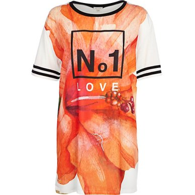 River Island €35 - No.1 Love flower print t-shirt dress http://eu.riverisland.com/women/t-shirts--vests--sweats/print-t-shirts--vests/White-No1-love-flower-print-t-shirt-dress-654793