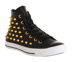 Converse €90.76 - All Star Hi Leather Black Gold Studs http://www.office.co.uk/view/product/office_catalog/5,21/2452192118