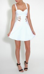 Rare London €54.50 - White Side Cut Out Skater Dress http://www.rarelondon.com/white-side-cut-out-skater-dress.html