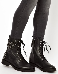 Mango €70 - Chain and Stud Worker Boots http://tinyurl.com/q9nmffe