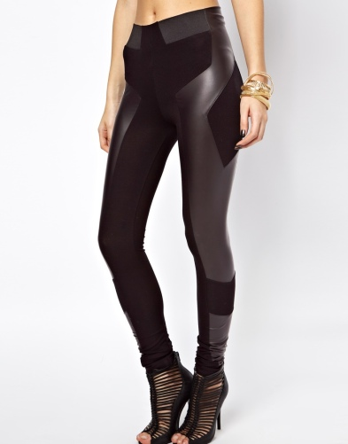ASOS €35 - Leggings in High Waist with Leather Look Panel Detail http://tinyurl.com/mkt4xov