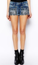 ASOS €36.50 - Low Rise Denim Shorts with Silver Spikes http://tinyurl.com/opn43pk