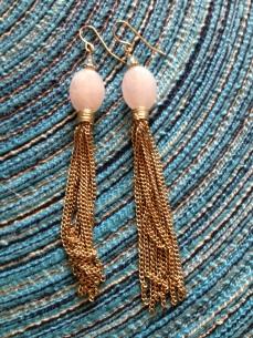 Pink Stone Tassel Earrings