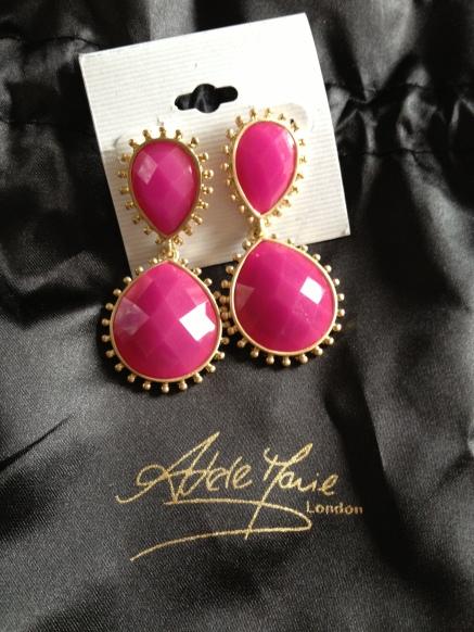 Pink & Gold Double Gem Drop Earrings