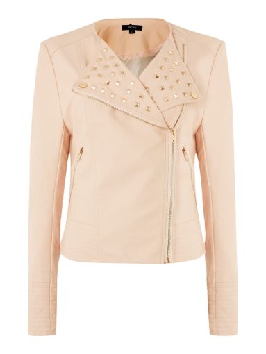 Therapy €79 - Therapy Faux Leather Studded Biker Jacket http://www.houseoffraser.co.uk/Therapy+Faux+leather+studded+biker+jacket/188572391,default,pd.html