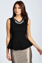 Boohoo Callie Necklace Trim Textured Peplum Top €15 - http://www.boohoo.com/tops/callie-necklace-trim-textured-peplum-top/invt/azz33254
