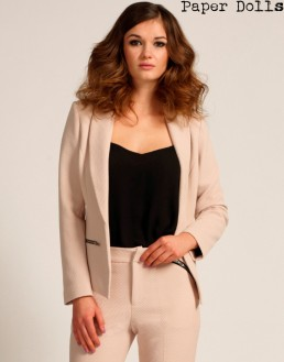 Paper Dolls €77.55 - Cream Textured Zip Detail Tailored Jacket http://www.little-mistress.co.uk/clothing-c9/cream-textured-zip-detail-tailored-jacket-p1220