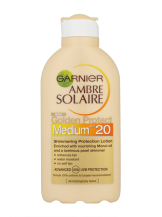 Garnier Ambre Solaire €9.44 - http://www.boots.ie/en/Ambre-Solaire-Golden-Protect-Shimmering-Sun-Protection-Lotion-SPF20-200ml_1250249/